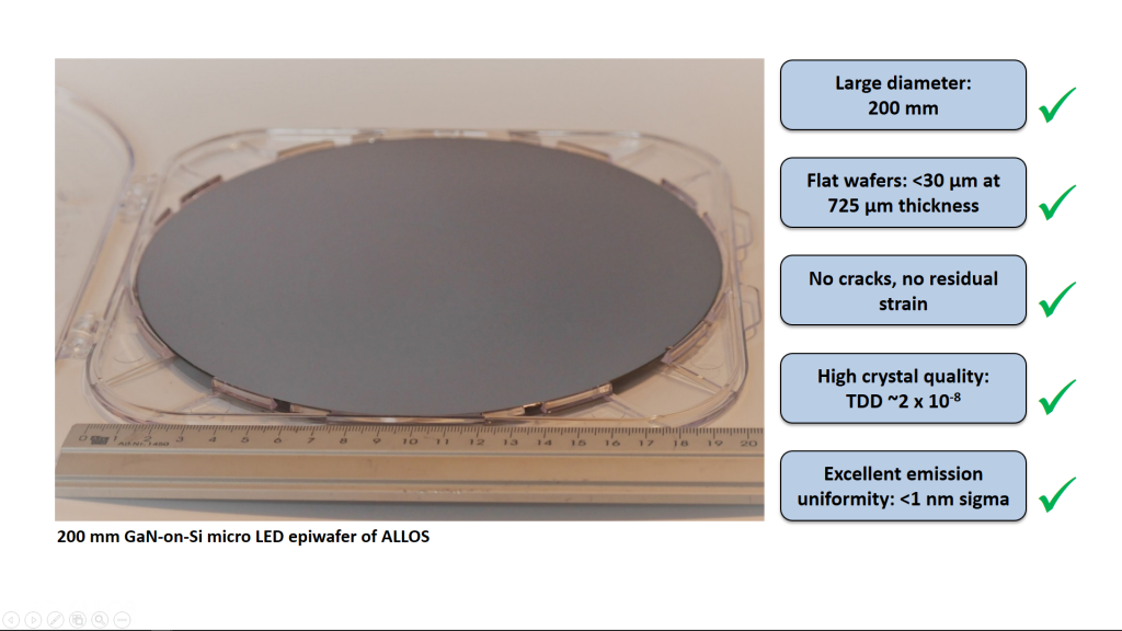 Photo of 200 mm GaN-on-Si micro LED wafer of ALLOS and overview over its superior properties